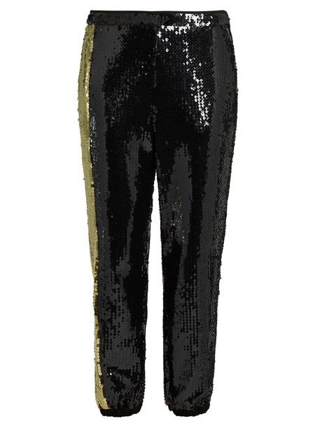Sonia Rykiel embellished gold black pants