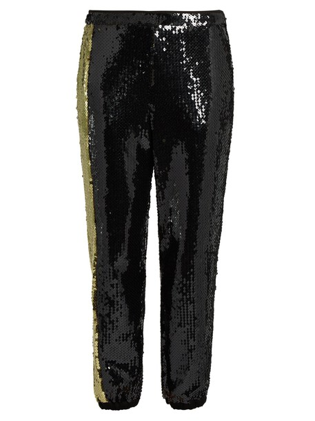 SONIA RYKIEL Sequin-embellished trousers in black / gold
