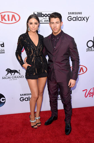 romper billboard music awards sparkly black olivia culpo nick jonas sandals