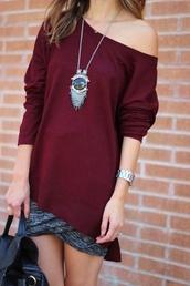 shirt,burgundy,baggy shirt,skirt,relaxed