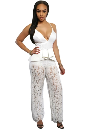 dress romper cute chic lace white lace party dress wots-hot-right-now jumpsuit black playsuit spaghetti strap peplum plunge v neck sexy jumpsuit