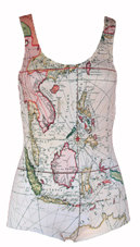 Antique map print swimsuit vintage tank style with by eekobaby