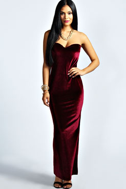 Candice Velvet Sweetheart Maxi Dress at boohoo.com