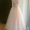 Champagne tulle beaded 2 pieces long prom dresses, formal dresses - 24prom