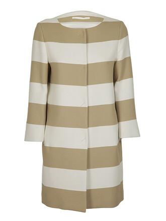coat striped coat beige