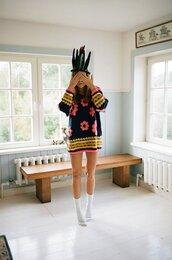sweater,flowers,vintage,pots,hippie,indie