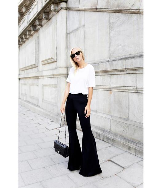 victoria tornegren blogger chanel bag designer bag wide-leg pants white t-shirt minimalist black pants flare pants asos black and white chanel