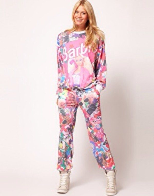 sweater barbie cute pink comfy sweatshirt sweatpants pants pajamas asos lovely