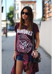 t-shirt,ramones shirt,burgundy,shirt