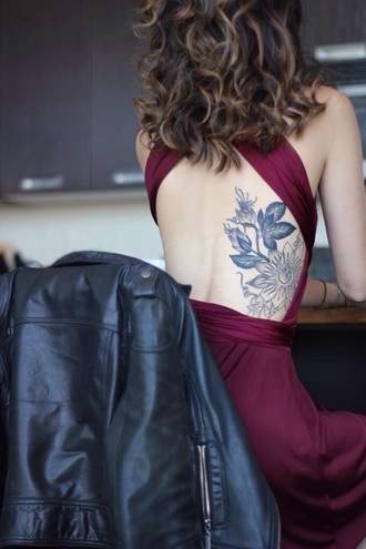 coat jacket dress dark red/burgundy dress open back prom dress backless dress burgundy dress