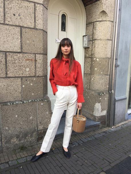 9b45d27aada830 blouse pants shirt red blouse red shirt white pants pants white trousers  black flats shoes bag