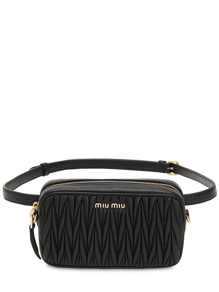 MIU MIU Quilted Leather Chain Belt Pack in black