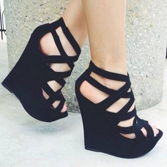 shoes pumps wedges heels straps style black black heels shoes black wedges black wedges