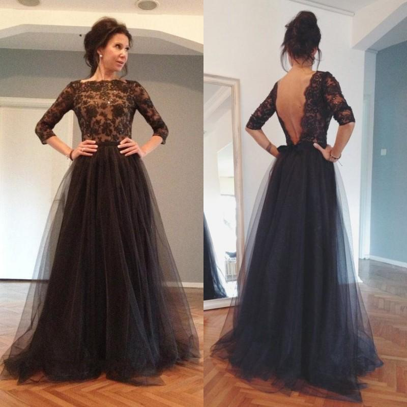 Size Evening Wear Dresses Long Sleeve Black Evening Dress Vestidos ...