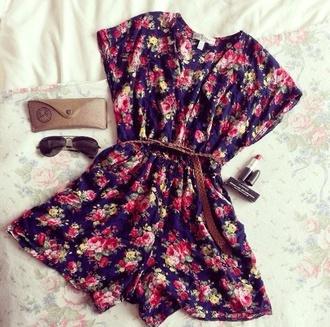 dress romper floral belt braided belt sunglasses black sunglasses jumpsuit flowers spring shorts floral dress