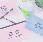 bag,blue,pink,indie,grunge,pale,aesthetic,beach,kawaii,pretty,pencil case,stationary,pastel