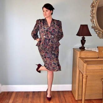 dress retro vintage kardashians long sleeve dress peplum dress boss print like a boss warm/earthtone office dress