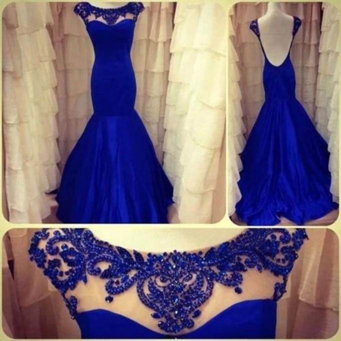 Sexy Backless Evening Dresses Royal Blue Mermaid High Neck Beading Formal Dress Prom Pageant Dresses Gowns Custom Made-in Prom Dresses from Apparel & Accessories on Aliexpress.com