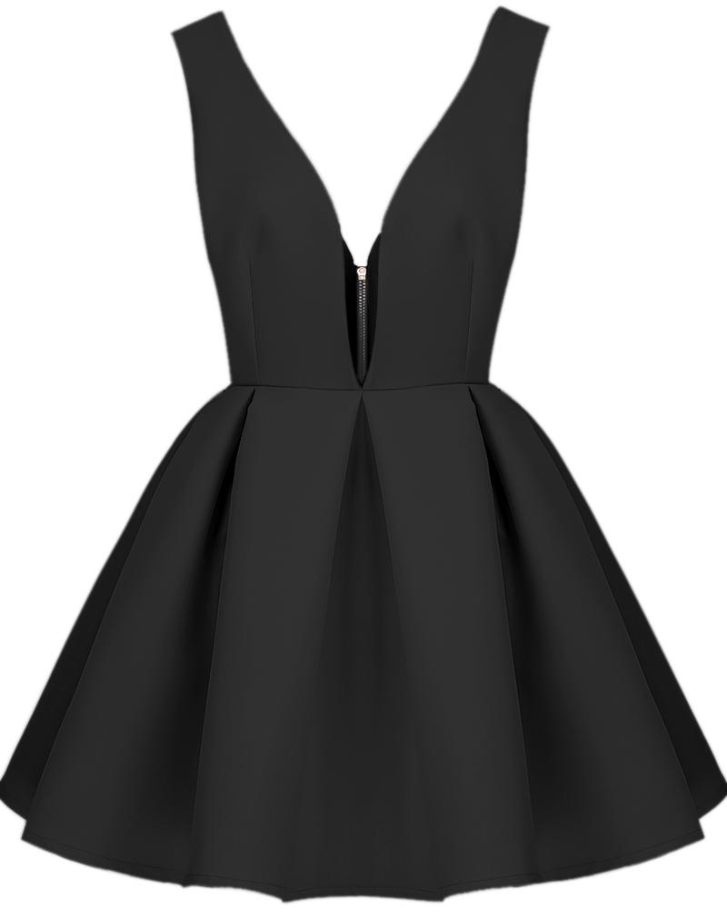 rückenfreies Kleid mit V-Ausschnitt, schwarz-Sheinside