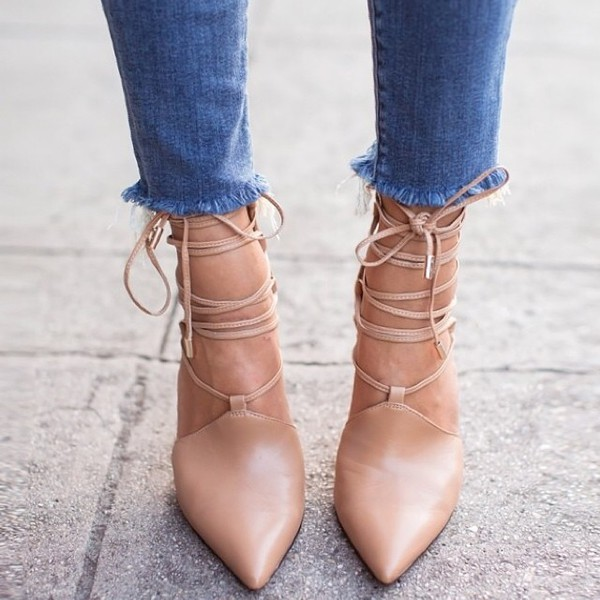 shoes nude heels nude high heels nude pumps lace up heels wit&whimsy blogger