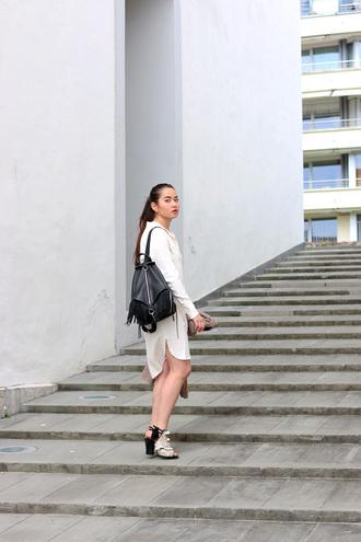 blaastyle blogger peep toe shirt dress white shirt leather backpack