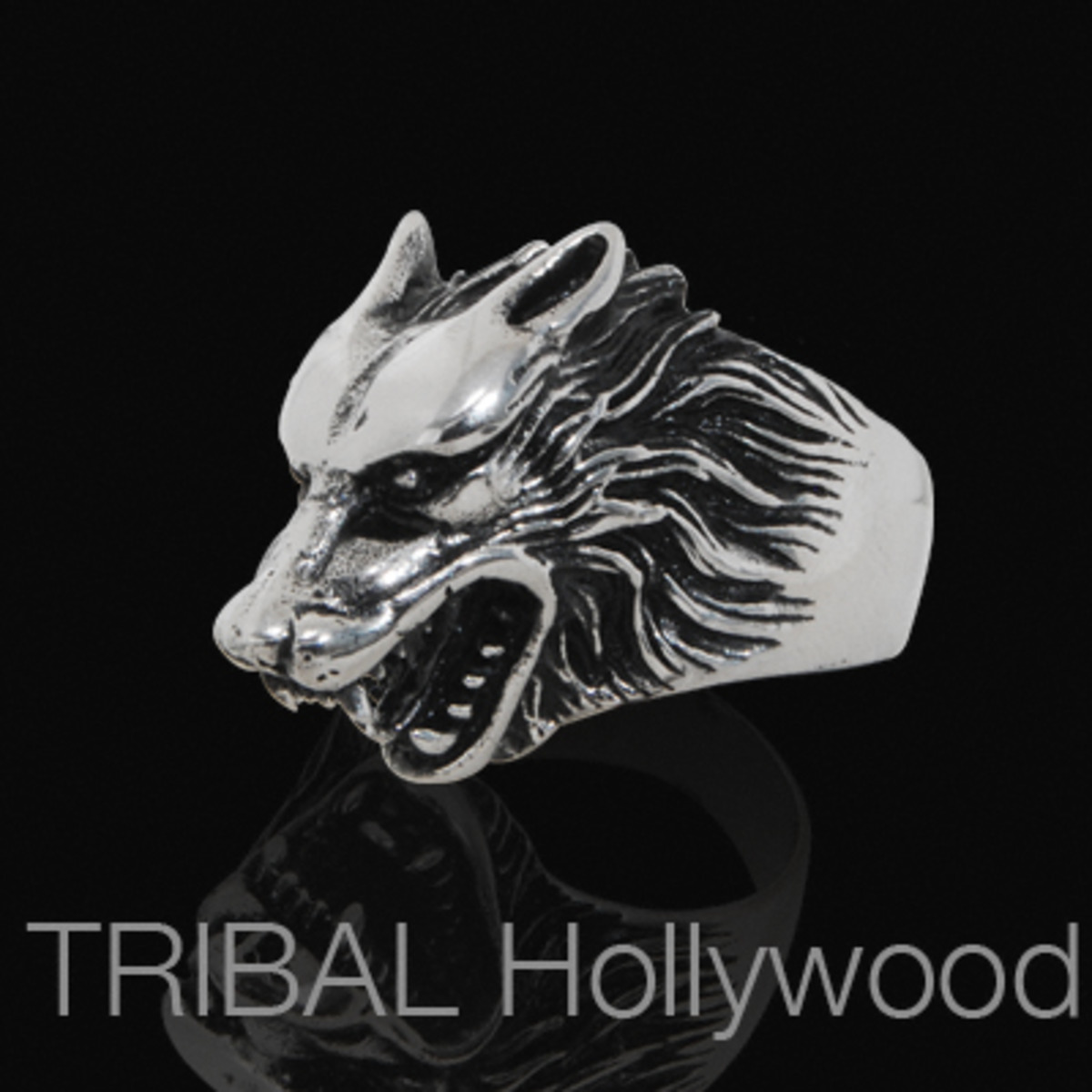 THE WOLF Ring Stainless Steel Wolf's Head Ring for Men | Tribal Hollywood