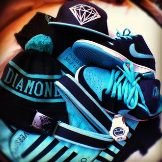 shoes blue black snapback pom pom diamond supply co.