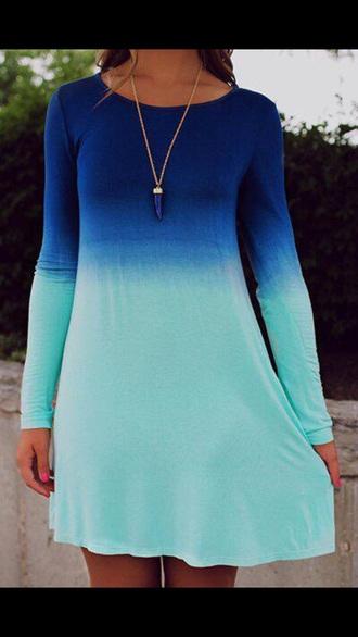 dress tye dye dress blue green