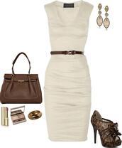 dress,high heels,shoes,beige dress,knee length dress,Khaki dress
