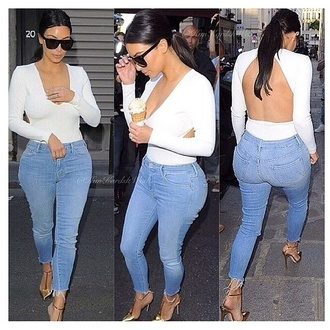 jeans brand kim kardashian sunglasses top blouse backless white bodysuit