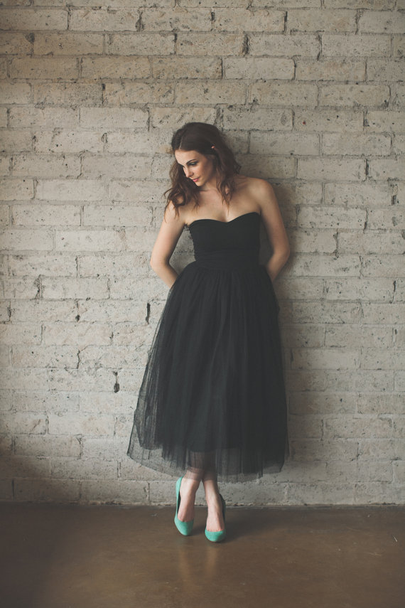 Tea Length Strapless Sweetheart Black Tulle Dress  Audrey by ouma