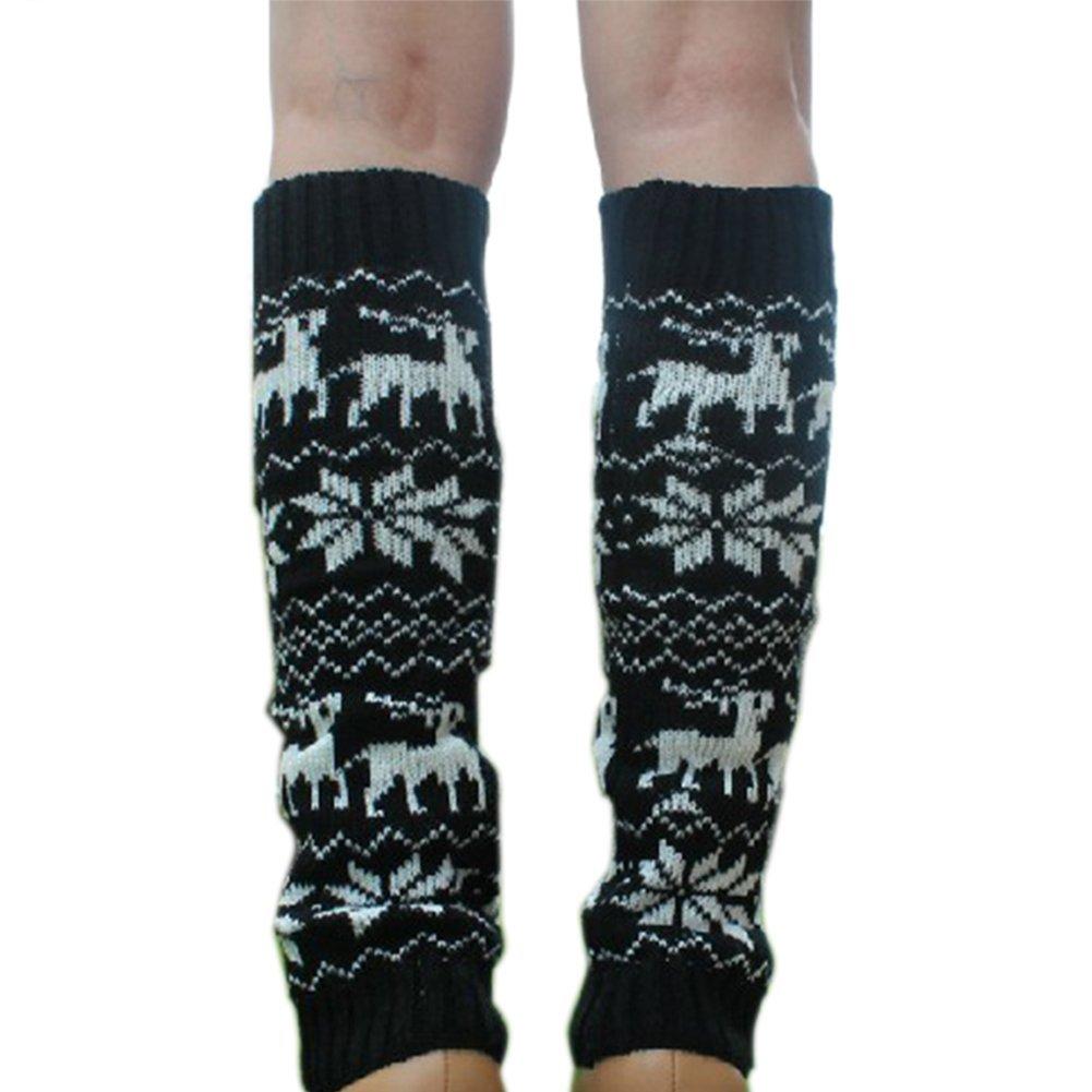 Amazon.com: hacbiwa lady solid color knit winter legging socks leg warmer footless knee socks for deer chirstmas black