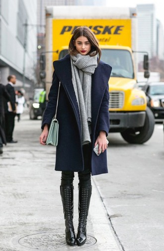 scarf grey winter outfits wool model streetstyle winter coat dark blue new york tumblr black runway coat snow trendy