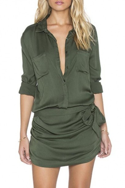 5133e41ee0 dress army green shirt dress All military green outfit