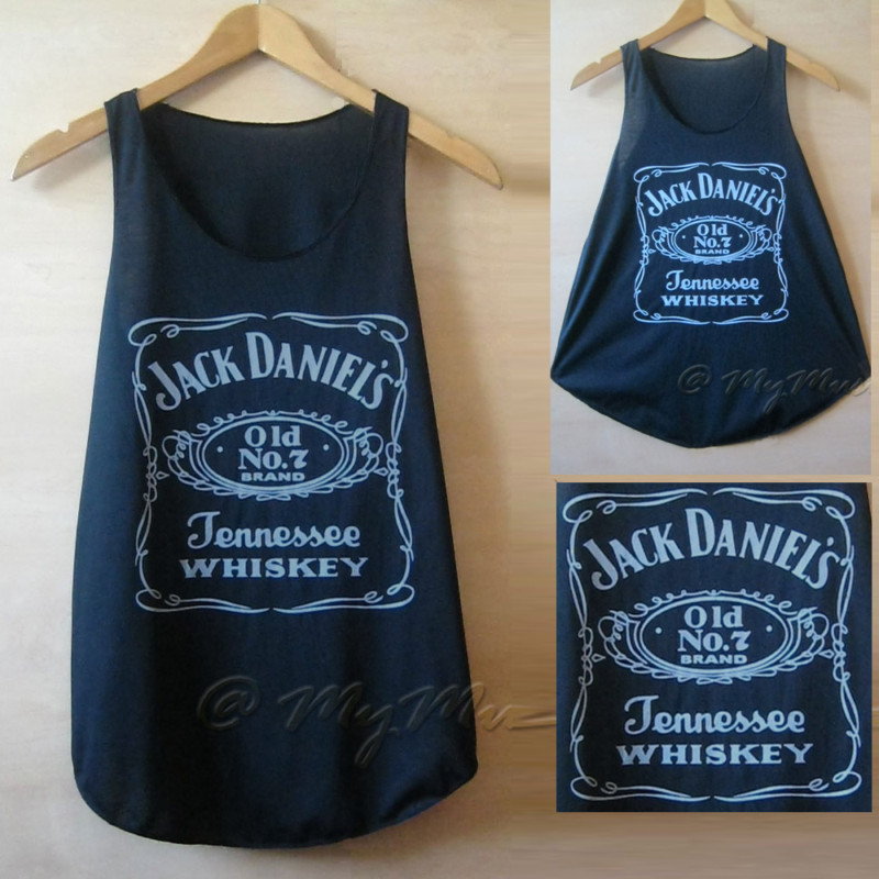 Jack daniel's print tank vest t shirts top ladies womens girls new black daniels