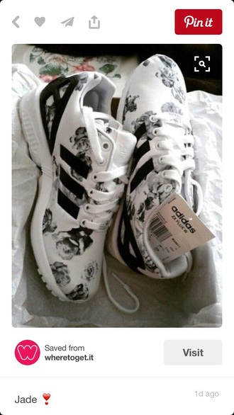 shoes adidas black and white floral