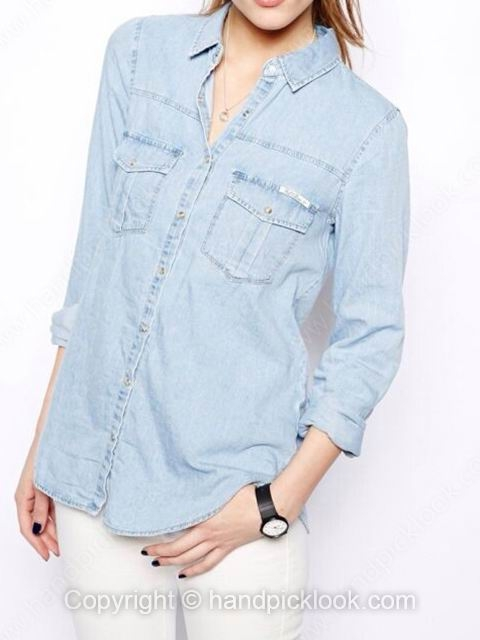 Blue Lapel Long Sleeve Pockets Casual Blouse - HandpickLook.com