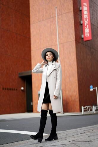 olivia lazuardy blogger hat skirt coat shoes