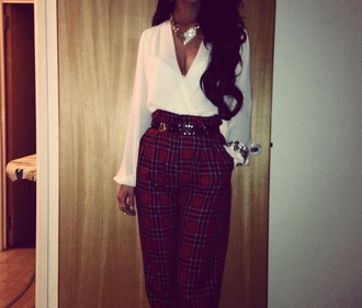 pants red tartan high waiste