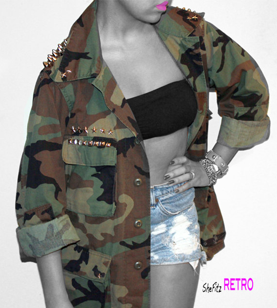 MADE TO ORDER Edgy Unisex Vintage Studded Army by SheFitzRetro