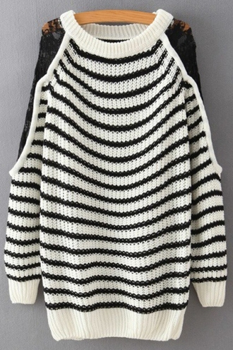 sweater fashion style cute warm girly cool lace trendy black and white stripes long sleeves knitwear