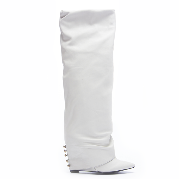 LONDON TRASH SOLANGE KNEE BOOT - WHITE – FLYJANE