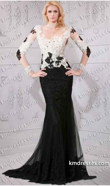 Amazing iconic sheer illusion tow tone long sleeves black white color block lace dress
