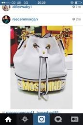 bag,backpack,white backpack,moschinobag,moschino,bucket bag