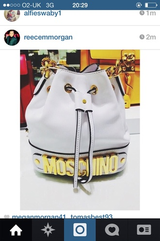 bag backpack white backpack moschinobag moschino bucket bag