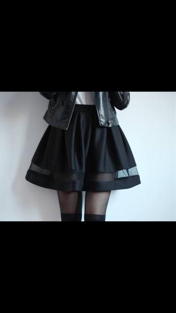 skirt clothes black skirt black girl sheer panel skirt jupe noire