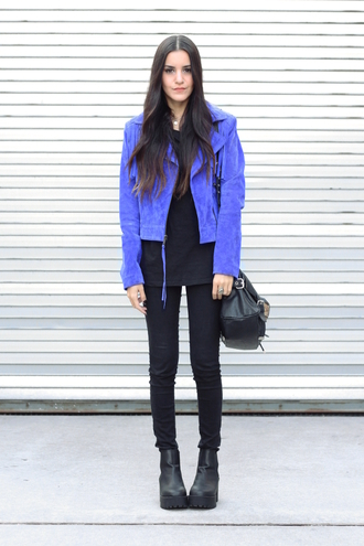 dress like jess blogger blue jacket suede jacket fall jacket