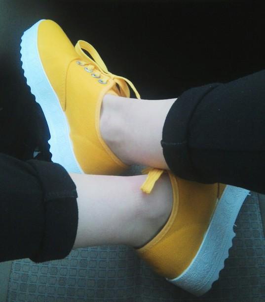 shoes basket jaune poussin compens?s