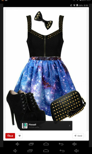 hair accessory galaxy skirt black tank top black bootie heels blouse