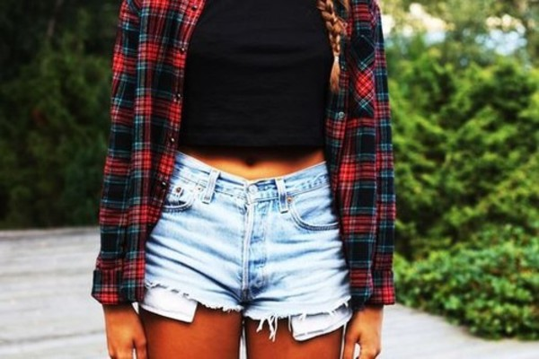 plaid shirt shirt distressed high waisted jeans